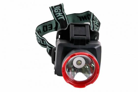 Đèn pin đội đầu SHE-5012 cỡ nhỏ, đen đỏ, sáng trắng