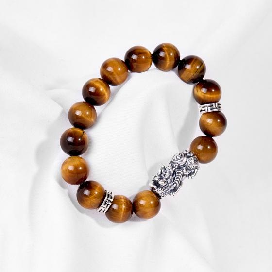 Vòng tay đá thiên nhiên phối charm tỳ hưu bạc - Ngọc Quý Gemstones