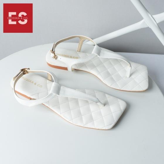 Giày sandal xỏ ngón Erosska thời trang mũi vuông quai mảnh kiểu dáng đơn giản cao 2cm EM048