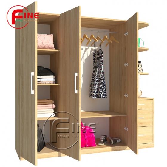 Tủ Quần Áo FINE FT042 Kích thước 1m8, Thiết kế hiện đại, có ngăn trưng bày túi xách