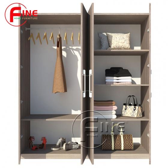 Tủ Quần Áo FINE FT011 Kích thước 1m8, Thiết kế hiện đại, các ngăn tủ rộng treo xếp quần áo vô cùng thoải mái