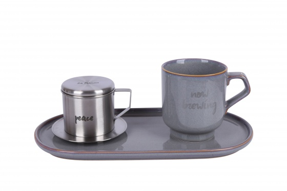 Bộ pha café Good Luck-Vintage 3 món (phin cafe, cốc và đĩa sứ 30cm) Sa Maison