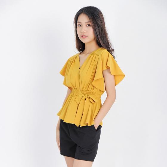 Áo kiểu nữ công sở thời trang Eden tay cánh tiên thắt nơ eo - ASM089