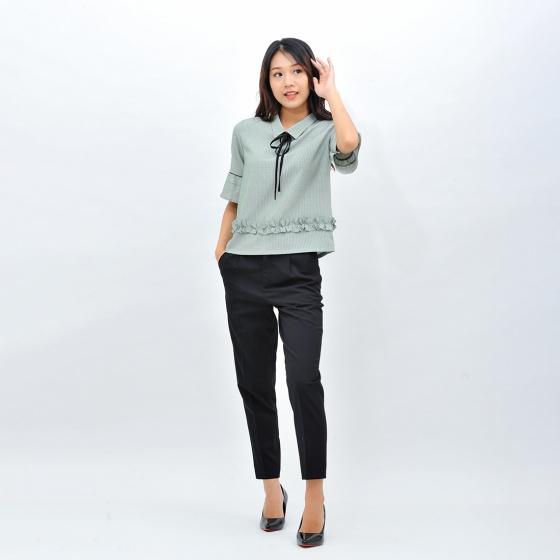 Áo kiểu nữ công sở thời trang Eden dáng ngắn tay lỡ thắt nơ - ASM095