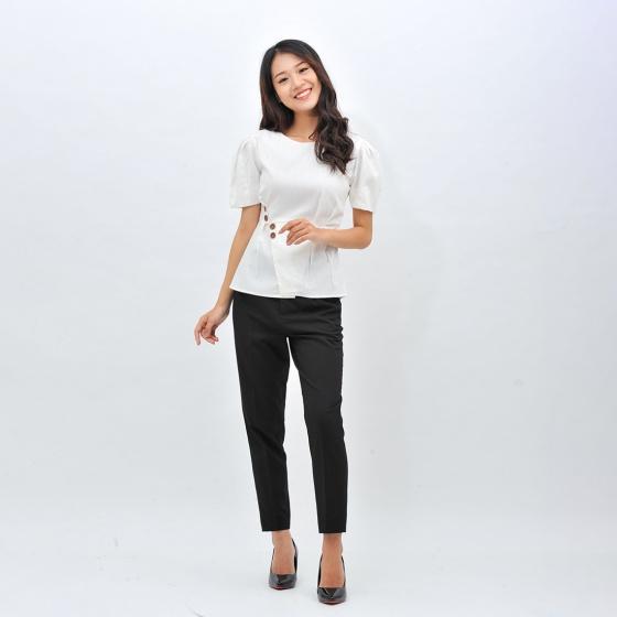 Áo kiểu nữ công sở thời trang Eden cổ tròn xếp li eo - ASM098