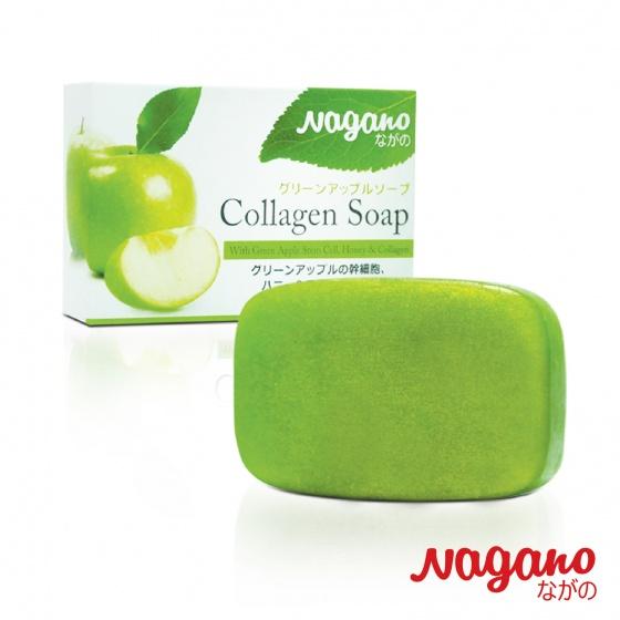 Xà phòng rửa mặt chiết xuất táo xanh collagen Nagano 100g