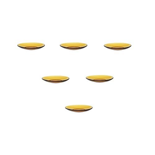 Bộ 6 Dĩa D4005D Duralex - Lys vàng Amber 13.5cm Thủy tinh cường lực cao cấp Pháp