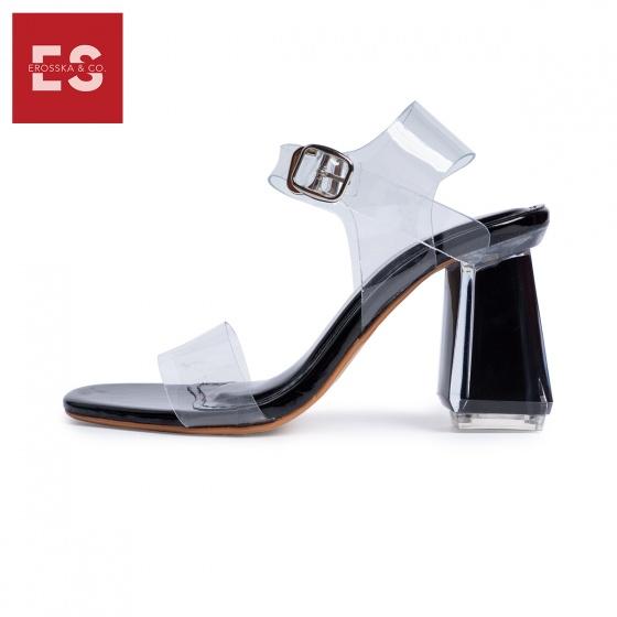 Giày nữ, giày sandal cao gót thời trang Erosska mũi vuông quai mảnh phối mica trong hở gót cao 7cm EB017 (màu nude)