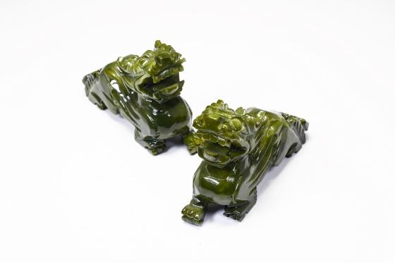 Cặp tỳ hưu đá serpentine xanh - Ngọc Quý Gemstones