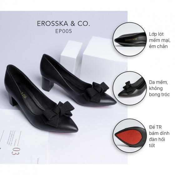 Giày cao gót Erosska thời trang mũi nhọn đính nơ điệu đà kiểu dáng cơ bản cao 5cm EP005
