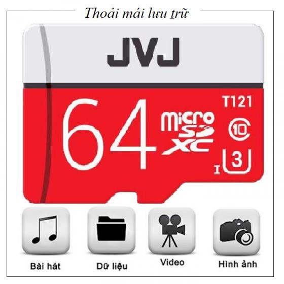 Combo 2 Thẻ nhớ 64Gb JVJ Pro U3 Class 10-chính hãng chuyên dụng camera bảo hành 5 năm 1 đổi 1