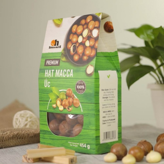 Hạt macca Úc Smile Nuts nứt vỏ thượng hạng hộp 454g - Australian Maccadiamia 454g