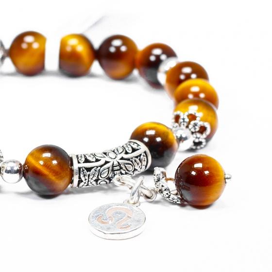 Vòng tay đá mắt hổ vàng nâu charm bạc cung sư tử - Ngọc Quý Gemstones