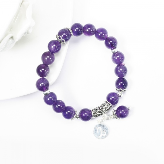 Vòng tay đá thạch anh tím charm bạc cung Ma Kết - Ngọc Quý Gemstones