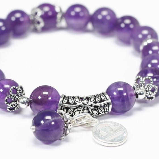 Vòng tay đá thạch anh tím charm bạc cung thiên bình - Ngọc Quý Gemstones