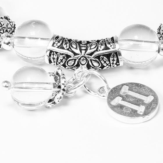 Vòng tay đá thạch anh trắng charm bạc cung song tử - Ngọc Quý Gemstones