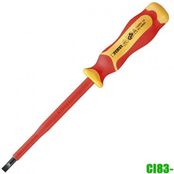 CI83-65150 Tua vít 2 cạnh cách điện, 1.2 x 6.5 x 150 mm. Fervi Italy