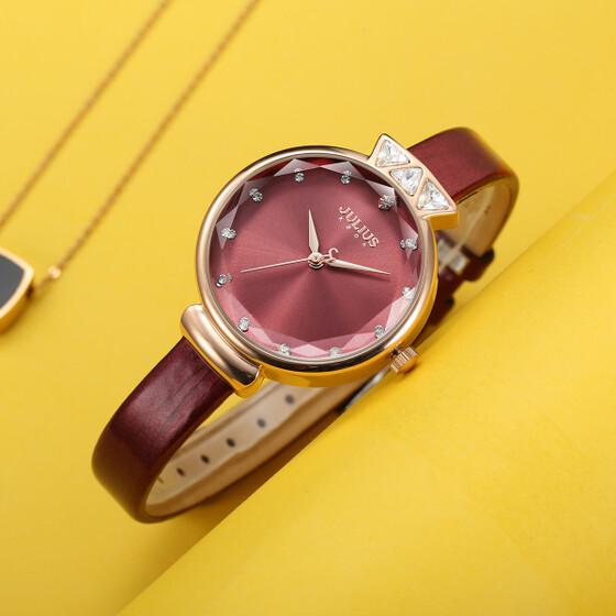 Đồng hồ nữ Julius Hàn Quốc mặt lăng kính JA-1140 (3 màu) dây da