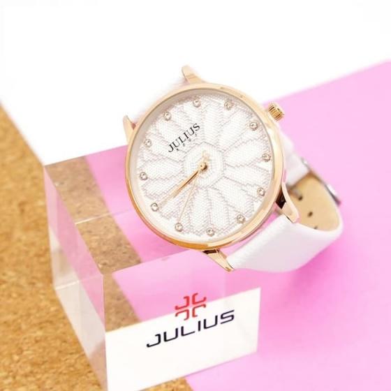 Đồng hồ nữ julius Hàn Quốc dây da màu trắng JA-1084A