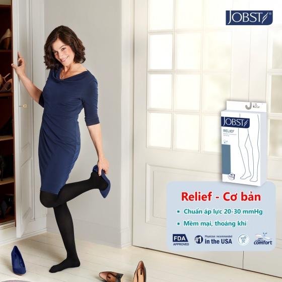 Vớ y khoa gối điều trị suy giãn tĩnh mạch chân Jobst Relief chuẩn áp lực 20-30mmHg, màu đen, size S (tất y khoa)