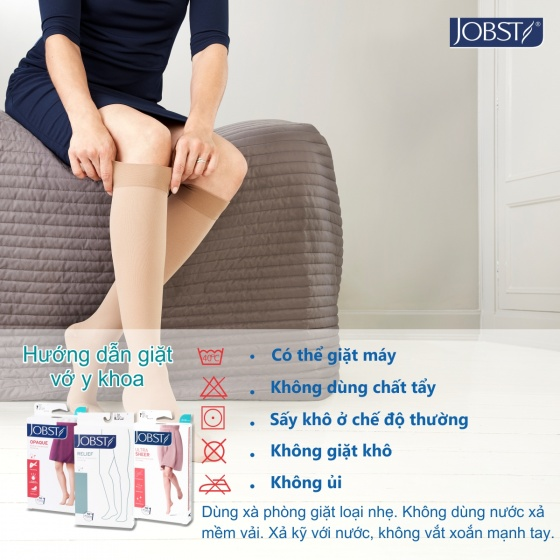 Vớ y khoa gối điều trị suy giãn tĩnh mạch chân Jobst Relief chuẩn áp lực 20-30mmHg,màu đen,size L (tất y khoa)
