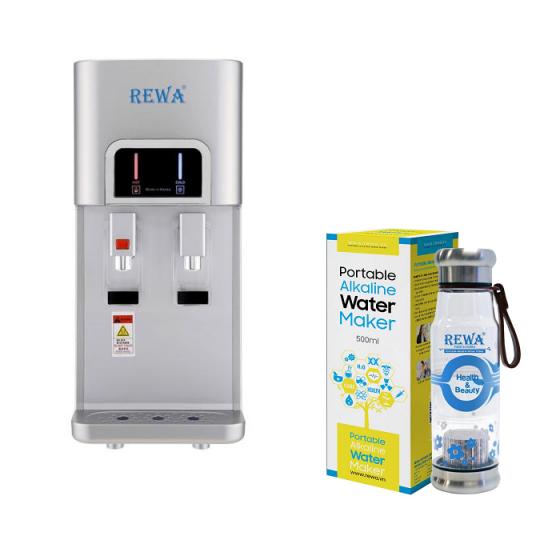 Combo Máy lọc nước nóng lạnh Hàn Quốc Rewa RW-NA-218.SILVER + Máy tạo nước ION kiềm cầm tay RW-AK-1700
