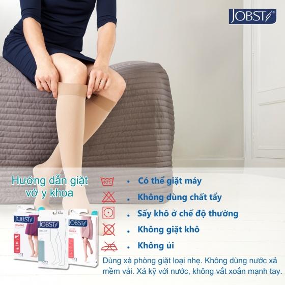 Vớ y khoa gối JOBST Ultrasheer, siêu mỏng điều trị giãn tĩnh mạch chân,20-30 mmHg,size S (màu đen, kín ngón) (tất y khoa)