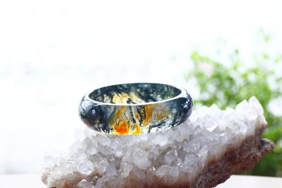 Vòng tay đá băng ngọc thủy tảo ni55 mẫu 2 - Ngọc Quý Gemstones