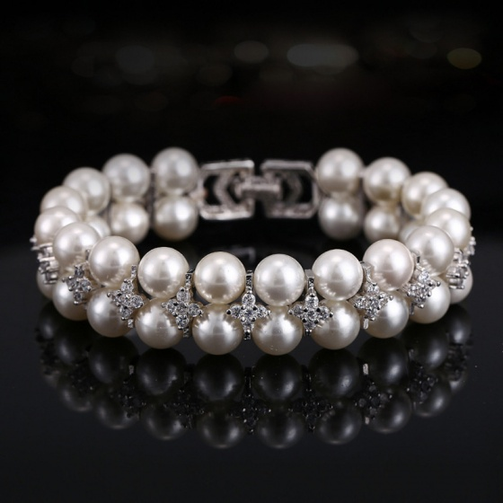 Vòng tay Ngọc trai tự nhiên - Dây đôi tròn chốt bạc nạm zicon - PlaygPearl (9-10ly) - CTJ2105