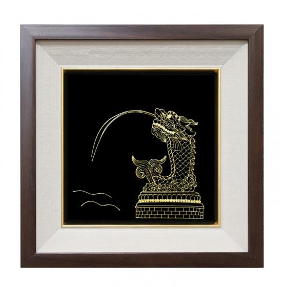 Tranh cá chép hóa rồng mạ vàng 24K
