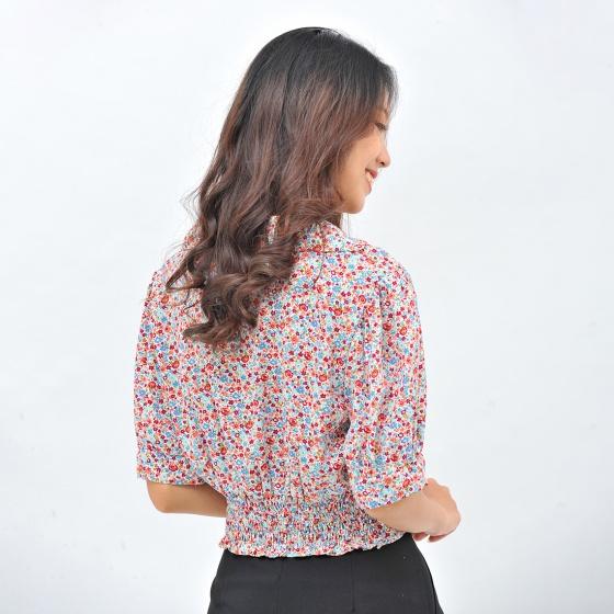 Áo kiểu nữ thời trang Eden dáng ngắn họa tiết hoa cổ danton - ASM105