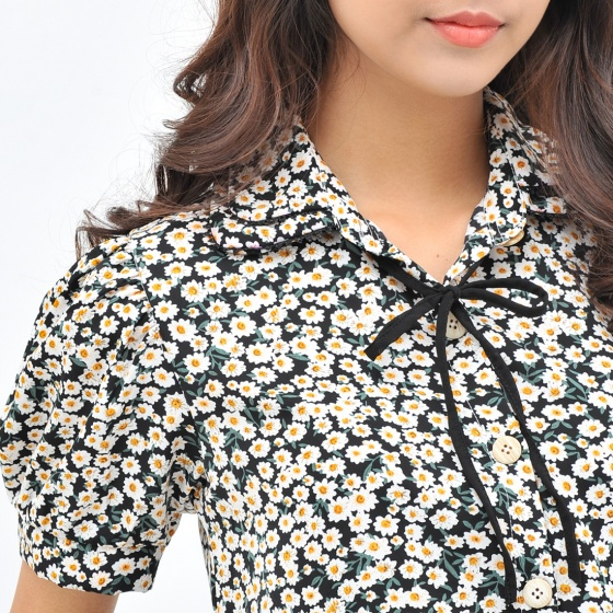 Áo kiểu nữ công sở thời trang Eden cổ sơ mi phối nơ - ASM104