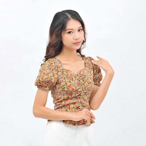 Áo kiểu nữ thời trang Eden dáng ngắn họa tiết hoa tay phồng dây rút - ASM099