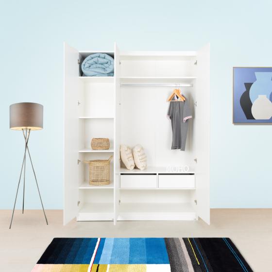 Set tủ quần áo MOHO VIENNA 3 cánh (kệ ngăn) màu trắng