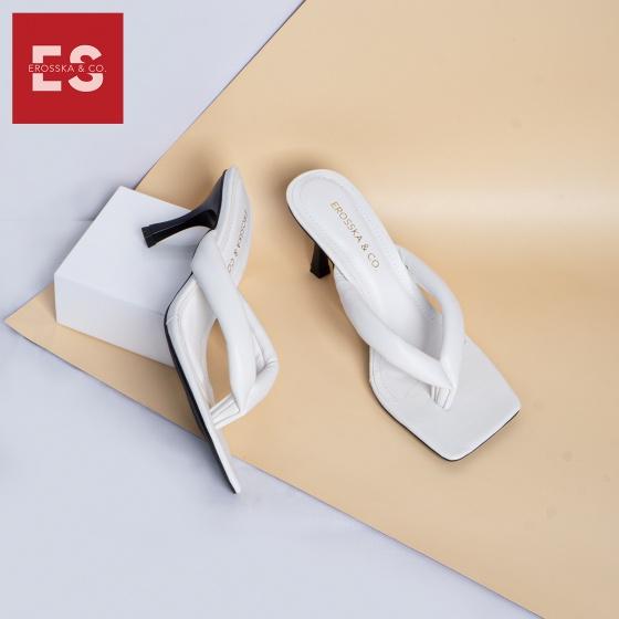 Dép cao gót Erosska thời trang mũi vuông kiểu dáng xỏ ngón cao 5cm EM057
