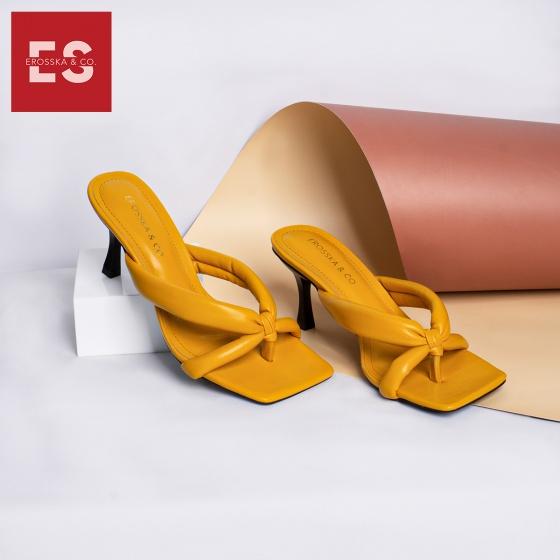 Dép cao gót Erosska thời trang mũi vuông phối quai chéo cao 5cm EM058