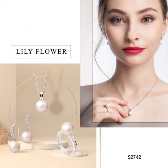 Bộ sản phẩm S2742 Chất liệu bạc quý kim, đính đá Cz, kết hợp Ngọc trai Freshwater màu trắng, size ngọc 9-12mm