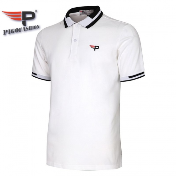 Áo thun nam cổ bể pigofashion phiên bản đặc biệt aht26 màu trắng