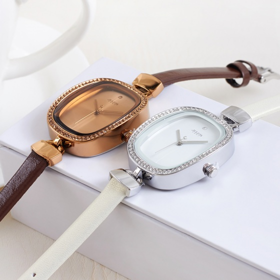 Đồng hồ nữ Julius Hàn Quốc JA-298E dây da mặt chữ nhật (Nâu)