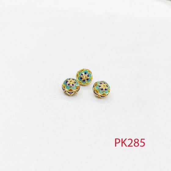 Charm tròn hoạ tiết cánh hoa xếp chồng phối vòng, lắc, trang sức pk285