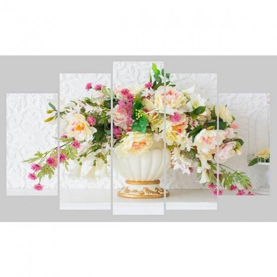 Tranh nghệ thuật bình hoa trắng TNT38 (Tặng 1 decal ngẫu nhiên)
