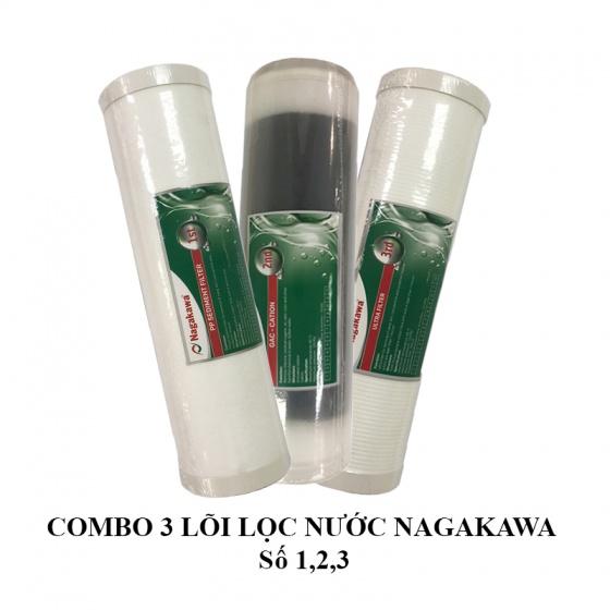 Bộ 3 Lõi lọc nước Nagakawa số 1,2,3 - Hàng chính hãng
