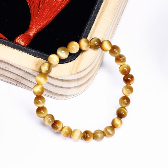 Vòng tay đá thạch anh mắt hổ vàng tâm size hạt 6mm mệnh thổ, kim - Ngọc Quý Gemstones