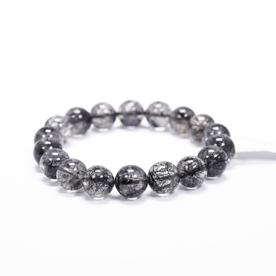 Vòng tay trơn đá thạch anh tóc đen size hạt 11mm kiểu 3 mệnh thủy, mộc - Ngọc Quý Gemstones