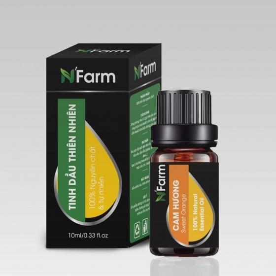 Combo máy khuếch tán tinh dầu giọt nước lớn gỗ nâu N'Farm NF2023 và tinh dầu sả chanh + tinh dầu cam N'Farm