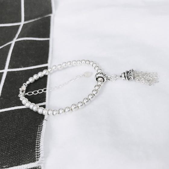 Lắc bi bạc 3mm charm chuông tua bạc - Ngọc Quý Gemstones