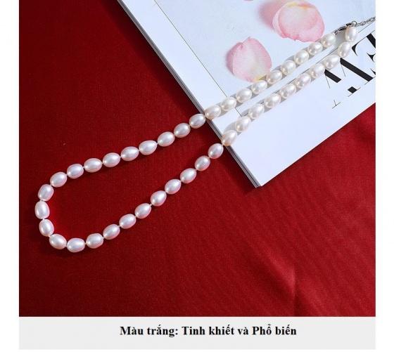 Vòng cổ Ngọc trai Thiên nhiên Cao cấp - Hạt xoài mọng - RicePearl (6-9ly) - CTJ4608