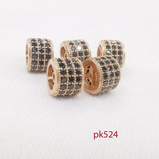 Charm đính đá đen 3 tầng phối lắc, vòng, trang sức pk524