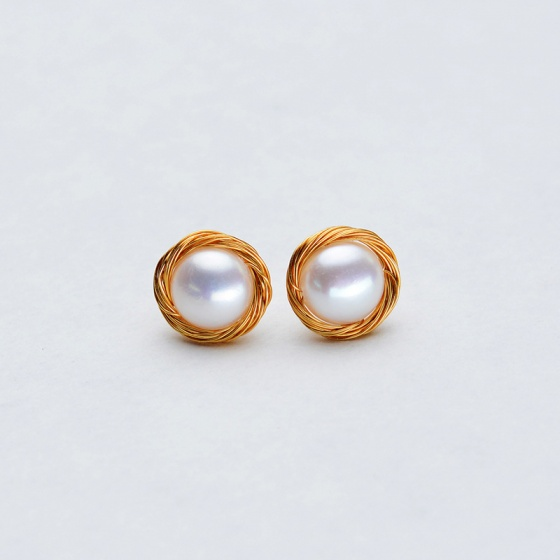Bông tai Ngọc trai Thiên nhiên Cao cấp - Kiểu nụ Nga - Rus Pearl (9ly) - CTJ1008