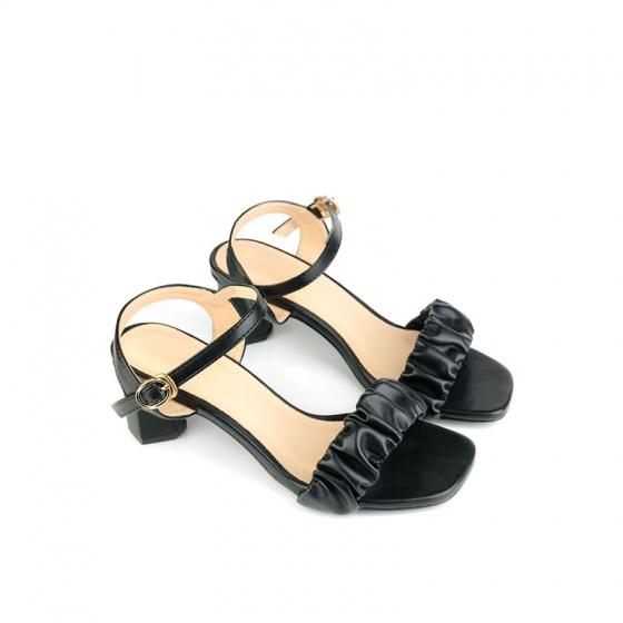 Giày sandal gót vuông quai nhúng SUNDAY DV69 - Màu đen